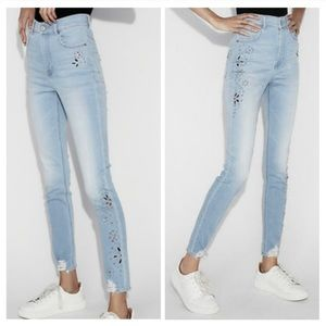 Express Light Blue Distressed Jeweled Jeans Size 4